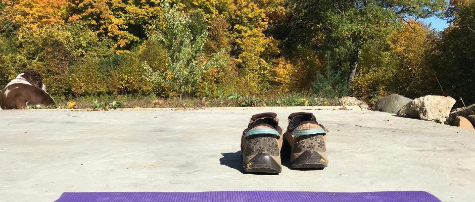 yoga mat outside